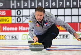 Paul Flemming throws a stone in his game against Pat Ferris at the Home Hardware Canadian Curling Pre-trials in Liverpool on Tuesday morning. Flemming wion the game 11-6. - Michael Burns/Canadian Curling