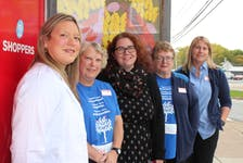 Outside of Shoppers Drug Mart in Glace Bay are, from left, associate/owner Sarah Boutilier, cashier Donna Andrecyk, executive director of Cape Breton Transition House Jodi McDavid, cashier Margaret MacLean and store manager Heather Jones. Shoppers stores across the country are hosting their Love You fundraiser for women's shelters and the locations in the CBRM are donating their money raised to Cape Breton Transition House. MacLean is store lead for the Love You campaign in Glace Bay. NICOLE SULLIVAN/CAPE BRETON POST