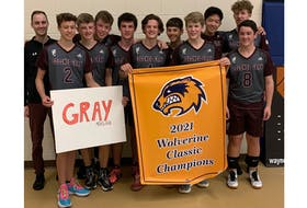 The Colonel Gray Colonels captured the Wolverine Volleyball Classic boys' title at Westisle Composite High School on Oct. 23. In the championship match, the Colonels defeated the Three Oaks Axemen 2-0 (25-22, 25-20). Members of the Colonels are, front row, from left, Jonah Bowie, 2, Jonathan Hyndman, Jonah Murphy and Brayden Bruce, 8. Back row: Max Arsenault (coach), Paul Kingston, Nate Whitnell, Desmond Cunniffe, Seth Gauthier, Eric Huang and Ben Plourde. Missing from the photo are coach Nick Jackson and Zach Harris.