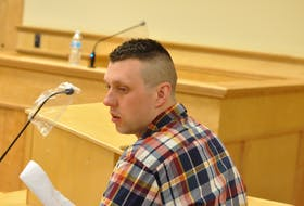 Thomas Whittle of Conception Bay South, pictured in Newfoundland and Labrador Supreme Court in Corner Brook, has been granted day parole after serving six months of a three-year sentence for causing the death of Justyn Pollard of St. John's in a snowmobile accident at Humber Valley Resort in 2017.