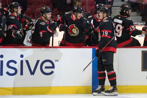 Ottawa Senators right wing Drake Batherson (19) celebrates after his first-period goal against the Washington Capitals at the Canadian Tire Centre in Ottawa on Monday, Oct. 25, 2021.