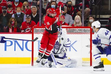 Maple Leafs goaltender Jack Campbell stops a shot against Carolina Hurricanes' Vincent Trocheck during the first period at PNC Arena on Monday, Oct. 25, 2021.