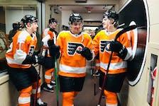 Elliot Desnoyers prepares to take the ice for his first NHL pre-season game with the Philadelphia Flyers on Oct. 4. - PHILADELPHIA FLYERS