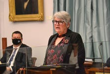P.E.I. Finance Minister Darlene Compton presents the province's 2021 capital budget in the legislature on Tuesday, Oct. 26, 2021. The budget includes $212.1 million in spending in 2022-23 and almost $840.4 million in spending over five years.