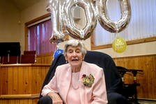 Dorothy Walker Robbins celebrating her centenary in November 2020 at the Orchard Valley United Church. Wendy Elliott