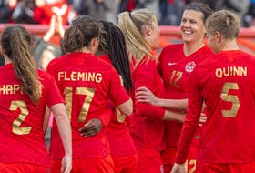 Canada celebrates after (No. 12) Christine Sinclair scores during the first half of a Celebration Tour game against New Zealand in Ottawa on Oct. 23, 2021. Canada won the second game of the tour 1-0 in Montreal on Oct. 26, 2021.