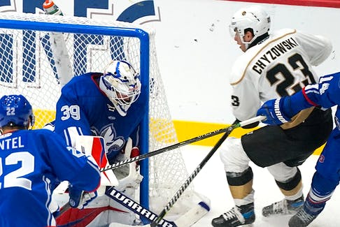 Once again, Ryan Chyzowksi and the Newfoundland Growlers got the better of Kevin Poulin (39) and the Trois-Rivieres Lions, finishing up their season-opening road trip with a 4-1 win Tuesday night. — Twitter