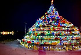 Last year's lobster trap tree lit up in the Municipality of Barrington. TINA COMEAU • TRICOUNTY VANGUARD