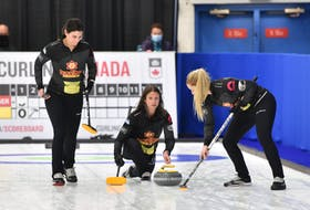 Skip Suzanne Birt releases a shot during the Canadian Curling Trials Direct Entry event in Ottawa in September. Lead Michelle McQuaid, left, and second stone Meagan Hughes sweep. The Birt rink, which curls out of the Cornwall and Montague clubs, is 2-1 after two days of play at the 2021 Home Hardware Curling Pre-Trials event in Liverpool, N.S. Curling Canada/Claudette Bockstael