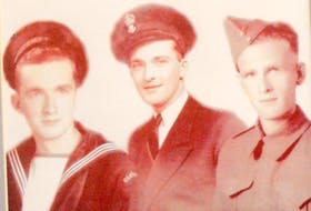 A photo of Second World War veteran Ray MacKay, left, and his late brothers Murray, centre, who also served in the navy, and Donald (Buddy), who was in the army. Chris Connors • Cape Breton Post