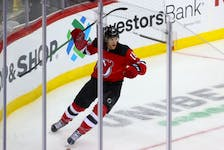 New Jersey Devils center Dawson Mercer (18) celebrates his goal during the third period of their game against the Calgary Flames at Prudential Center, Tuesday, Oct. 26.