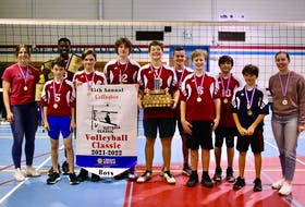 The East Wiltshire Warriors won the 45th edition of the Callaghan Boys Volleyball Classic at M.E. Callaghan Intermediate School on Oct. 23. The Warriors defeated the Montague Storm 2-0 in the championship match at M.E. Callaghan Intermediate School. Scores were 25-14, 25-23. Members of the Warriors are, from left: Emily Murray (coach), Nathan Rist (5), Rayner Glenn (holding trophies behind Rist), Josh Levy, Jack Buchanan, David Inman, Jadon Somers, Steven Dennis, Joshua Storey, Nick Frizzell and Gale Edison (coach).