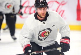 New Ottawa Senator Dylan Gambrell, seen at practice at the Canadian Tire Centre on Wednesday morning, is excited about the new opportunity to show what he can bring to the table.