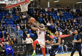 Devin Sweetney of the Cape Breton Highlanders goes for a layup during the team's National Basketball League of Canada first-round playoff series against the Halifax Hurricanes at Sydney's Centre 200 in April 2019. Irwin Simon, majority owner of the Cape Breton Eagles, believes professional basketball can work in Cape Breton. CAPE BRETON POST FILE