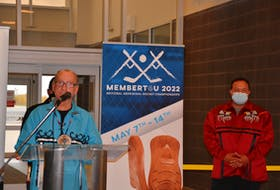 Membertou Chief Terry Paul announces his community will host the National Aboriginal Hockey Championship as Coun. Craig Christmas looks on. The tournament will take place in May at the Membertou Sport and Wellness Centre. ARDELLE REYNOLDS/CAPE BRETON POST