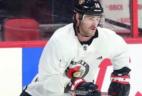 """""""I think you do (have to be careful), but not just in sports but as a world,"""" said veteran winger Austin Watson, who has missed the first three weeks of the season with an ankle injury, but will return on this trip. Watson is seen at the Senators' practice on Wednesday morning."""