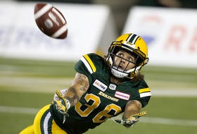 Edmonton Elks defensive halfback Aaron Grymes (36) tracks the ball against the Saskatchewan Roughriders at Commonwealth Stadium in this file photo from Aug. 2, 2018.