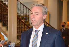 Premier Tim Houston speaks at Province House on Thursday, Oct. 28, 2021, about the PC government's vow that any student graduating from a Nova Scotia nursing program in the next five years will have a standing offer to work in the province.
