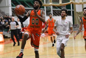 Cape Breton Capers guard Osman Omar takes the ball to the basket during Atlantic University Sport action in 2019-20. The Mississauga, Ont., product will be leaned upon to provide offence for the Capers this season. CONTRIBUTED • VAUGHN MERCHANT, CBU ATHLETICS