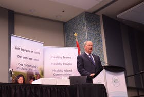 Health P.E.I. board chairman Derek Key addresses the audience at the annual general meeting Oct. 27 in Summerside.