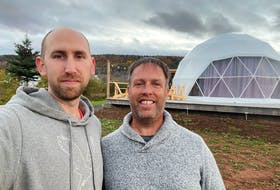 Drew Johnston, left, and Dana Surette have created Port Wade Glamping Domes and are ready to welcome visitors to their Annapolis County business.