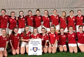 The Riverview Ravens will host the School Sport Nova Scotia junior varsity girls soccer championship at MacKinnon Memorial Field in New Waterford today and Saturday. Team members, with the Highland Region title banner, include, from left, front row, Keira Rose, Emily MacDonald, Mary Levatte, Hailey Dwyer, Jordan Adams, Mariah Herve, Olivia MacKay, Maggie Hillier, Caylie Parsons and Olivia Capstick; back row, Ev Fuller (coach), Isabella Andrew, Rebecca Morrison, Morgan Lecouter, Ava Mollon, Katie Clemens, Rita MacCormick, Gracey Smith, Keira Fuller, Pennie Sheppard, Kael Dalton, Lauren Hammond and Michealla Ferguson (assistant coach). CONTRIBUTED • EV FULLER