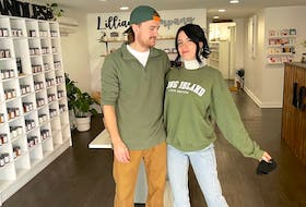 Faith Johnston, right, and her fiancé Rob Gray are seen inside her new downtown Sydney boutique Lillian Company. Johnston, who started making candles in a slow cooker in a spare bedroom, recently opened the store on Charlotte Street where she not only sells her line of unique, hand-poured candles, but a wide variety of other locally made, eco-friendly products. Contributed