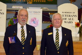 Royal Canadian Legion Branch #26 poppy campaign lead for 2021, Grant O'Laney, and president Terry Flewelling.