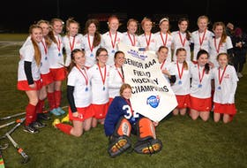 The Charlottetown Rural Raiders defeated the Colonel Gray Colonels 3-1 in the P.E.I. School Athletic Association Senior Girls Field Hockey League championship game at the UPEI turf field on Oct. 27. Members of the Raiders are goalie Marcy Ives in front and kneeling, from left, Gwen Costello, Kayla Batchilder, Bella Doyle, Brooke Walsh, Kailey Lutley, Sadie Lund and Jorgia MacPhee. Back row, from left, are Paige Hancock, Melia Mason, Kaitlyn MacPherson, Ella MacDougall, Jorja Hambly, Livi Lawlor, Catherine Walker, Grace Larkin, Molly Doyle, Ellen Carragher, Reegan Bolger and Molly MacNeil.