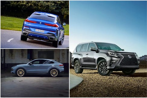 Clockwise, from top left, the 2022 BMW X6, Lexus GX and Porsche Cayenne all get top marks from owners. Postmedia News