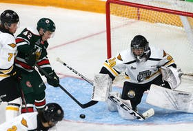 Cape Breton Eagles defenceman Connor Shortall, left, and goalie Rémi Delafontaine were too much for Halifax Mooseheads forward Zack Jones on this play during Saturday's Québec Major Junior Hockey League game on Saturday in Halifax. Delafontaine earned a victory in his first career QMJHL match as the Eagles defeated the Mooseheads 4-3 in a shootout. TIM KROCHAK/SALTWIRE NETWORK
