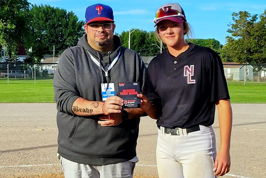 Jaida Lee was both the top batter and top pitcher at the 2021 Atlantic girls' under-16 baseball championship in Summerside, P.E.I., in August. He Newfoundland and Labrador team won the event. — Twitter/@NLGirlsBaseball
