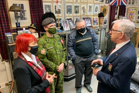 North Nova Scotia Highlanders Regimental Museum curator Ray Coulson (right) speaks to Cumberland-Colchester MP Lenore Zann, Lt. Col Bryan Mialkowsky of the Department of National Defence and Morris Haugg of the Amherst Armouries Plus Society in March. Darrell Cole - SaltWire Network