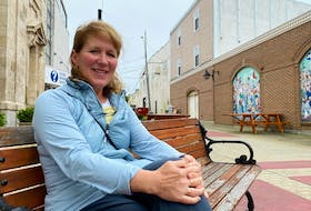 Kerry Muise, chair of the Yarmouth Chamber of Commerce, says Alma Square will be one of the likely locations for the mobile musical instruments that the YCC will be ordering soon. CARLA ALLEN • TRICOUNTY VANGUARD