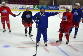 Summerside D. Alex MacDonald Ford Western Capitals head coach Billy McGuigan offers instructions during a recent practice at the Island Petroleum Energy Centre (formerly Eastlink Arena). The Caps host the Pictou County Weeks Crushers in their 2021-22 Maritime Junior Hockey League (MHL) season home opener on Oct. 9 at 7 p.m.