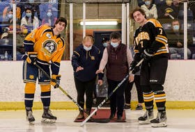 As a show of thanks to all health-care workers, the Yarmouth Mariners invited health-care workers to drop the puck at their first home game of the 2021-2022 season. KEN CHETWYND PHOTO