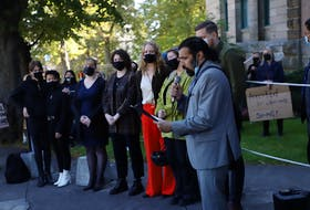 A crowd is gathered in front of the courthouse on Spring Garden Road on Tuesday, Oct. 5, 2021 to support the protesters who were arrested on Aug. 18.