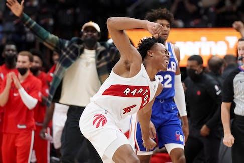 Raptors' Scottie Barnes celebrates against the Philadelphia 76ers in pre-season action at Scotiabank Arena on Monday, Oct. 4, 2021 in Toronto.