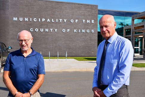 District 8 Kings County Coun. Jim Winsor and Mayor Peter Muttart outside the municipal complex in Coldbrook. Muttart is embarking on a tour that will involve hosting public meetings with the area councillor in all eight electoral districts. KIRK STARRATT