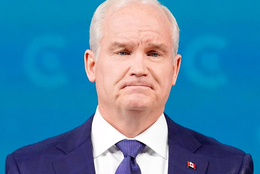 Conservative Leader Erin O'Toole concedes electoral defeat at his headquarters in Oshawa, Ont., on Tuesday, September 21, 2021.