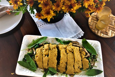 Instead of the turkey, serve up a vegan roulade featuring spinach, mushrooms and roasted peppers.