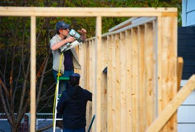 Greg Coldwell and Oliver Nemeskeri of Sprout Dwellings work at a job site in north-end Halifax on Oct. 1. Ryan Taplin - The Chronicle Herald