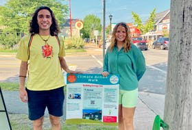Climate interns Lia Lancaster and Max Abu-Laban are Acadia University students who spent the summer engaging with residents and hosted 10 public Climate Outreach events.