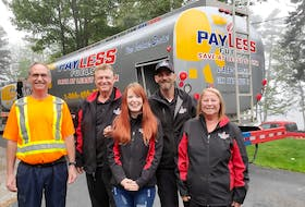 """The PayLess Fuels team is comprised of James """"Stewie"""" Walters (from left), Kim Publicover, Pamela Lascelles, Andrew Publicover and Judy Publicover.- Photo Contributed."""