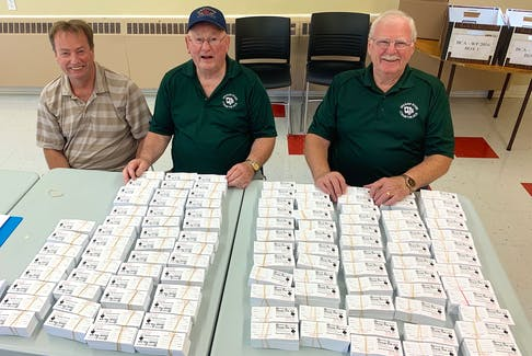 Kiwanis Club of Sydney past-president John Nash, from left, Royal Canadian Legion branch 126 president Allan Bragg and Spanish River Community Centre vice-president Sam Adams sit behind some of the 80,000 tickets for the Oct. 14 Chase the Ace draw. With the winning ace of spades the lone remaining card and a potential $250,000 jackpot, demand for tickets is high. Chris Connors • Cape Breton Post