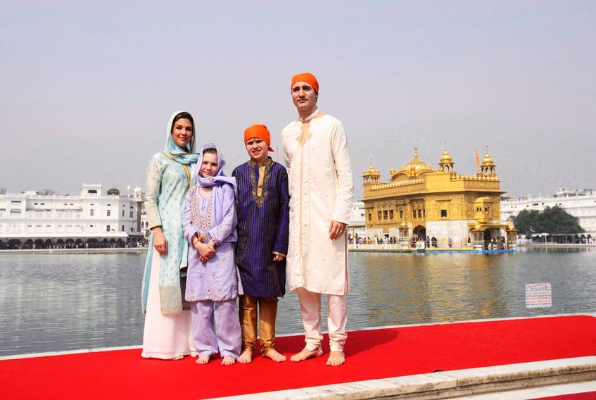 Prime Minister Justin Trudeau, wife Sophie Gregoire Trudeau, and children, Xavier, 10, Ella-Grace, 9, in Amritsar, India in 2018.
