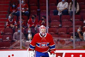 Montreal Canadiens goaltender Carey Price (31) heads to his crease in front of only 2,500 fans during Game 4 of the Canadiens-Jets playoff series on Monday, June 7, 2021.