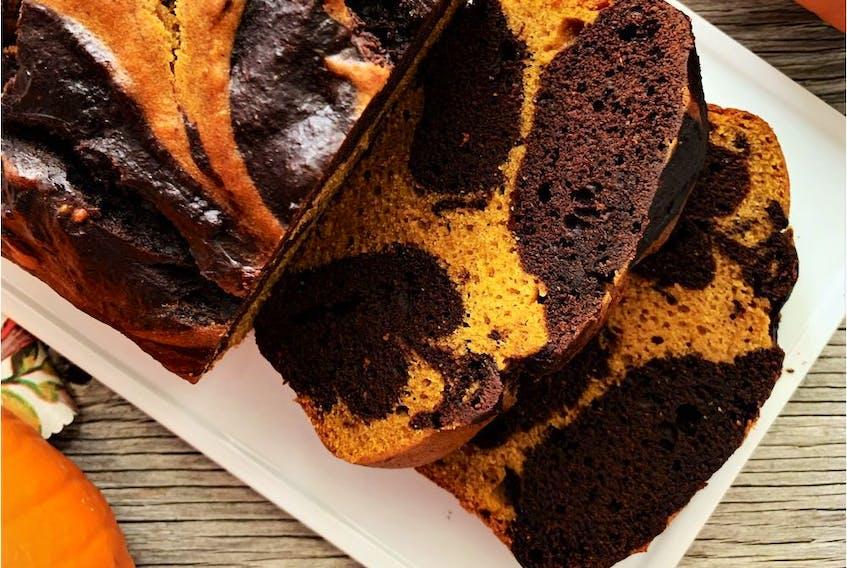 Marbled Pumpkin Chocolate Loaf