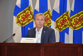 Premier Tim Houston speaks to media after a cabinet meeting Thursday, Oct. 7, 2021, in downtown Halifax.