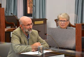 Federation of Agriculture president Ron Maynard, left, and interim executive director Anne Boswall spoke before a standing committee on Oct. 7 in Charlottetown. Maynard said he believes data about water usage by farms that use supplemental irrigation should be made public.